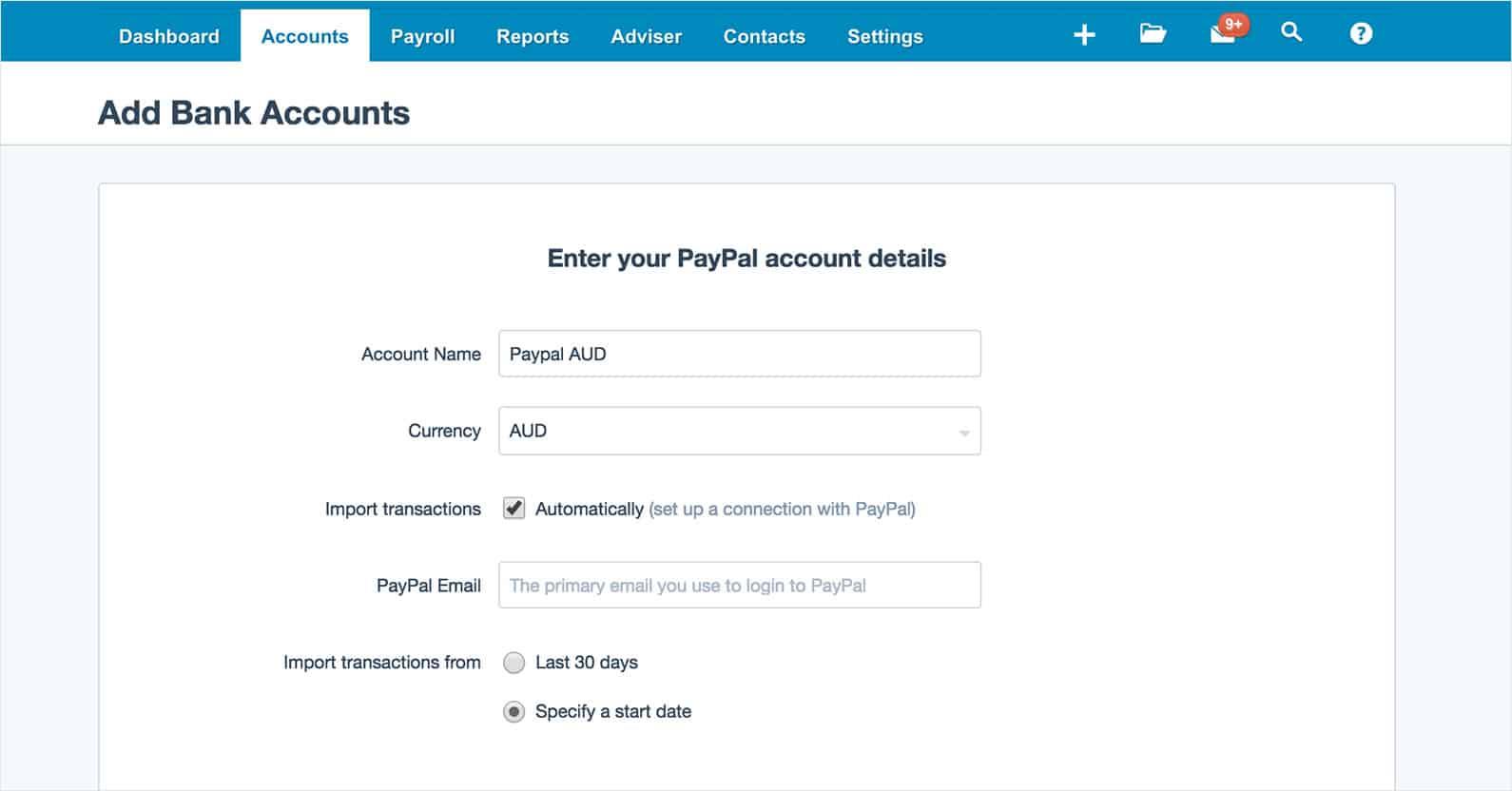 paypal bank account setup