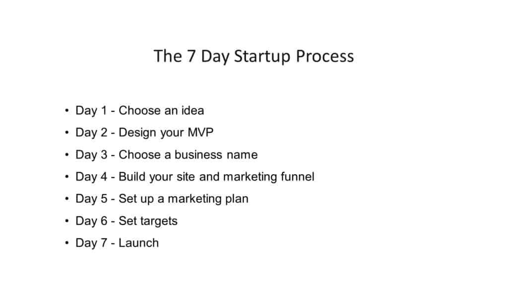 7 day startup process